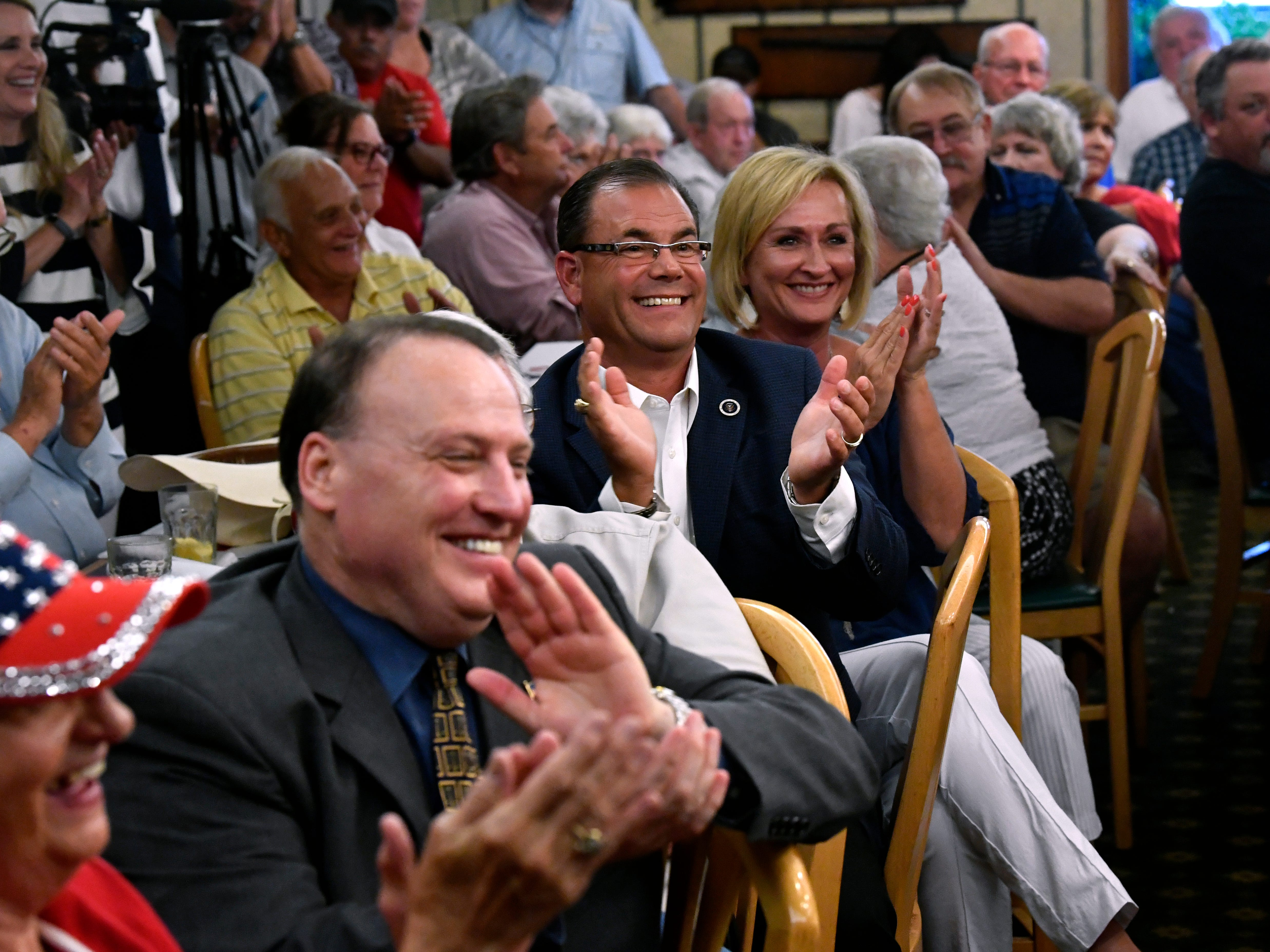 The audience applauds Senator Ted Cruz for one of his remarks during a town hall meeting Thursday August 9, 2018. Cruz spoke to and greeted supporters for over 90 minutes at Underwood's Cafeteria.