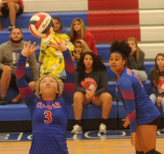Cooper setter Pearce Bjorlie (3) sets the ball for a teammate against Seminole. Cooper beat the Maidens 25-22, 25-13 during pool play at the Bev Ball Classic on Friday, Aug. 10, 2018 at Cougar Gym.