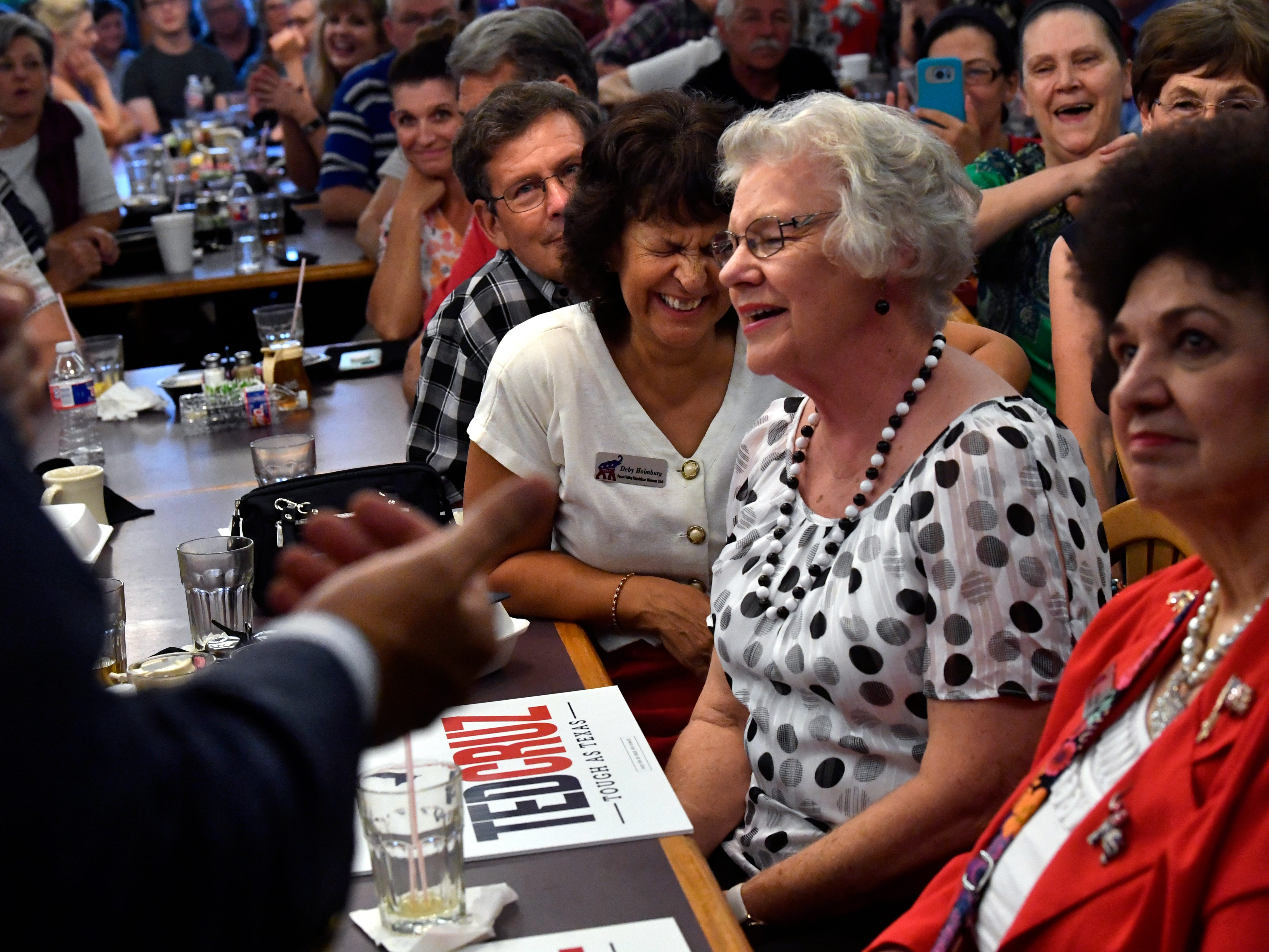 Attendees laugh at Senator Ted Cruz's remarks during a town hall meeting Thursday August 9, 2018 in Brownwood. Cruz spoke to and greeted supporters for over 90 minutes at Underwood's Cafeteria.