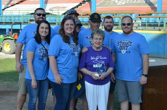 Friday was Pack the Park For Barb at C.O. Brown Stadium - the second year the World Series will honor the memory of Barbara Newton, wife of tournament director Terry Newton, who passed away after battling ALS. Gate revenues will be donated to the ALS Foundation. The Barbara J. Newton Memorial Award was presented to Ann Bobrofsky. The annual award recognizes contributions by women toward the support and advancement of amateur baseball in Battle Creek.