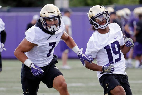 Taylor Rapp (7) and Kyler Gordon are members of Washington's star-studded defensive backfield.