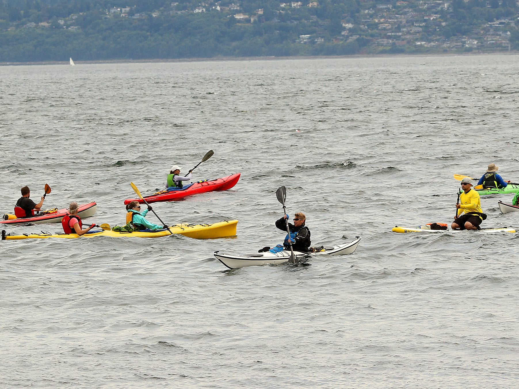 Participants in Olympic Outdoor Center's Paddle Kitsap prepare for the start of their journey to Poulsbo at Bainbridge Island's Fay Bainbridge Park on Saturday, August 11, 2018.