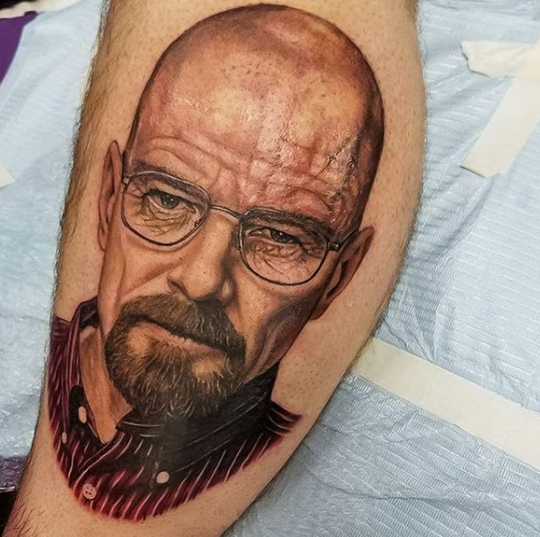 "Corpus Christi tattoo artist Jess Cavazos' favorite technique to use for his tattoos is realism. Pictured is a realistic tattoo of Walter White from ""Breaking Bad."""