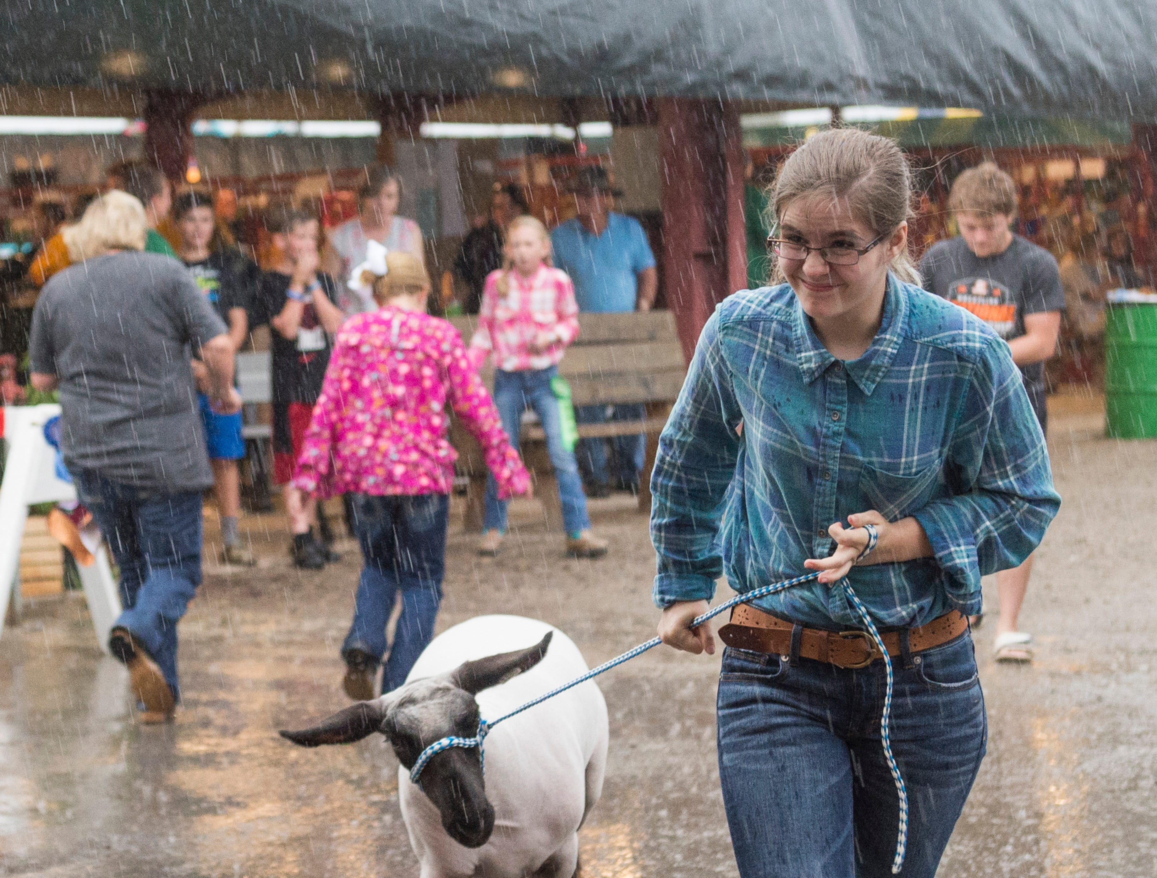 An exhibitor leads a lamb through a downpour to the Jr. Fair Market Lamb Sale at the Ross County Fair on August 10, 2018, in Chillicothe, Ohio.