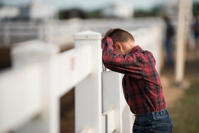 A boy takes a moment at the 2018 Jr. Fair Horse Show.