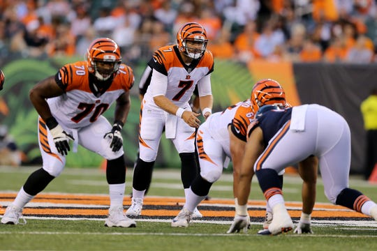 Cincinnati Bengals quarterback Matt Barkley (7) awaits the snap in the fourth quarter during the Week 1 NFL preseason game between the Chicago Bears and the Cincinnati Bengals, Thursday, Aug. 9, 2018, at Paul Brown Stadium in Cincinnati.