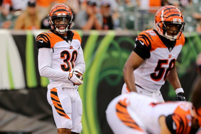 Cincinnati Bengals defensive back Jessie Bates (30) gets set for a play in the second quarter during the Week 1 NFL preseason game between the Chicago Bears and the Cincinnati Bengals, Thursday, Aug. 9, 2018, at Paul Brown Stadium in Cincinnati.
