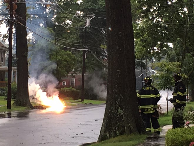 A passing storm caused a fire on Hillside Avenue in Plainfield Saturday morning.