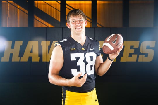Iowa's T.J. Hockenson poses for a photo during the Iowa Football media day on Friday, Aug. 10, 2018 in Iowa City.