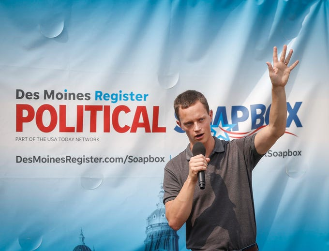 Rob Sand, democratic candidate for State Auditor from Decorah, speaks during the Des Moines Register Political Soapbox on Saturday, Aug. 11, 2018, during the Iowa State Fair in Des Moines.