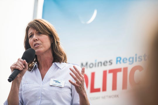 Cindy Axne, Democratic candidate for Iowa's 3rd Congressional District, speaks on the Des Moines Register Political Soapbox, on Saturday, Aug. 11, 2018, at the Iowa State Fair.