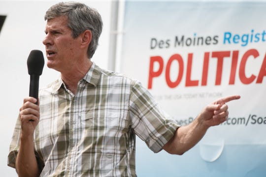 Iowa democratic candidate for governor Fred Hubbell speaks at the Des Moines Register Soapbox during the Iowa State Fair on Saturday, Aug. 11, 2018 in Des Moines.