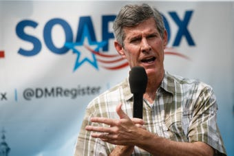 Iowa Democratic candidate for governor Fred Hubbell speaks on the Des Moines Register Soapbox.