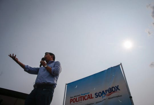 Democratic presidential hopeful Andrew Yang speaks at the Political Soapbox on Saturday, Aug. 11, 2018, during the Iowa State Fair in Des Moines.