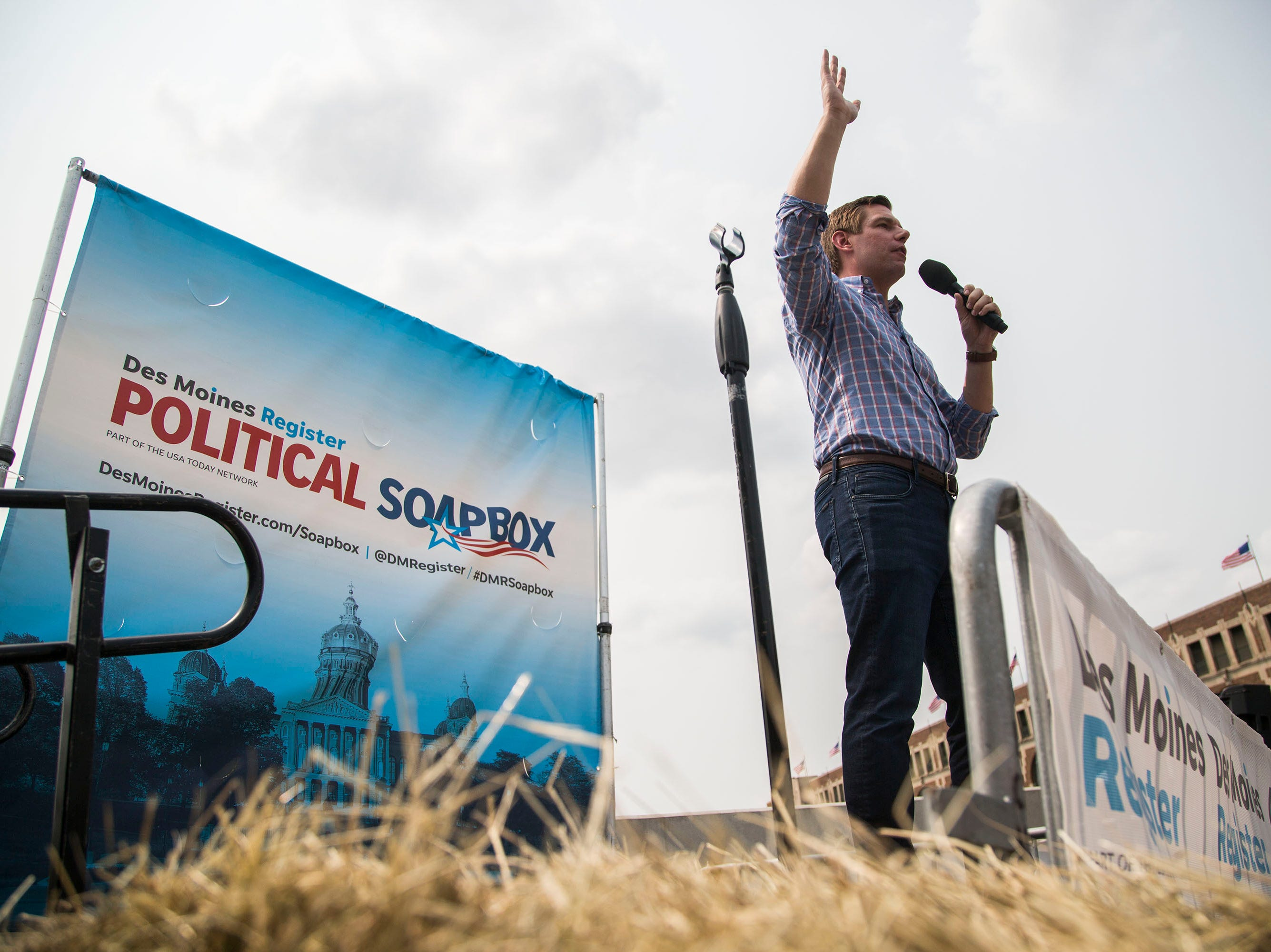 Rep. Eric Swalwell, a Democrat from California, speaks on the Des Moines Register Political Soapbox, on Saturday, Aug. 11, 2018, at the Iowa State Fair.