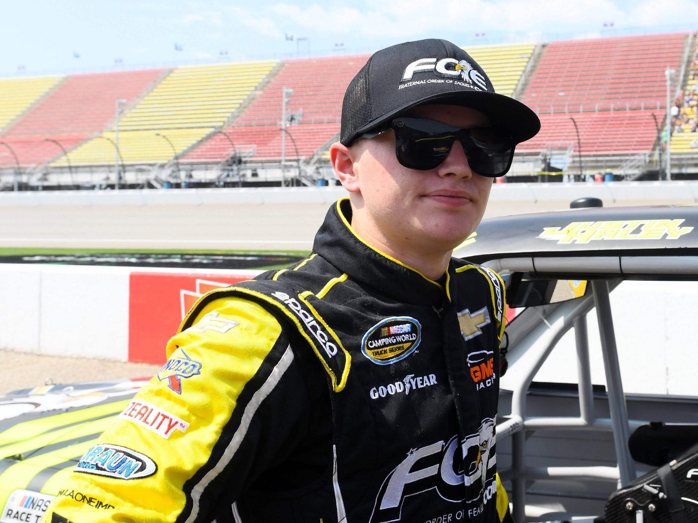 NASCAR Camping World Truck Series driver Justin Haley (24) before the start of the Corrigan 200 at Michigan International Speedway.