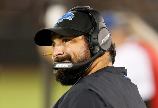 Detroit Lions head coach Matt Patricia watches during the first half of the team's NFL preseason football game against the Oakland Raiders on Friday, Aug. 10, 2018.