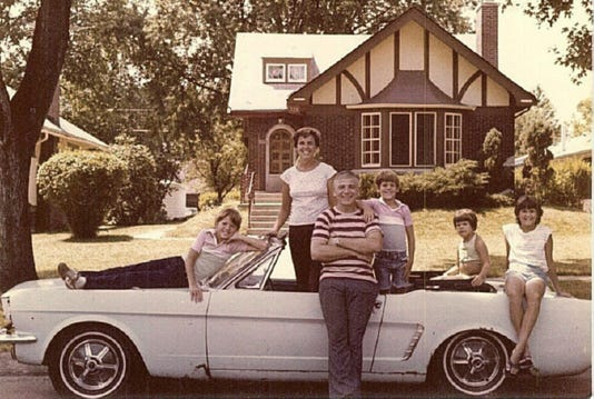 The Wise Family Tom And Gail With Their Four Kids Shot A Christmas Card Picture In July 1979 Ford Mustang Shortly After Pushed Car Into