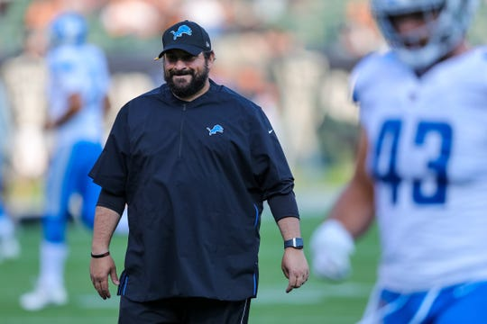 Detroit Lions head coach Matt Patricia looks on before the game against the Oakland Raiders at Oakland Coliseum on Aug. 10, 2018.