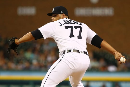 Tigers pitcher Joe Jimenez throws a pitch in the eighth inning of the Tigers' 5-3 win on Friday, Aug. 10, 2018, at Comerica Park.