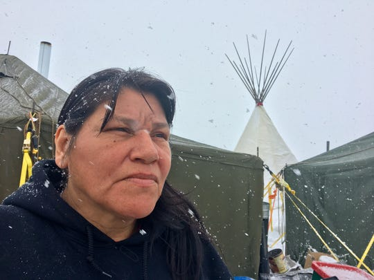 Nancy Shomin, who grew up in Flint, at the Oceti Sakowin resistance camp at Standing Rock Indian Reservation in North Dakota in 2016. She spoke with the Free Press on Monday, Dec. 5, 2016.
