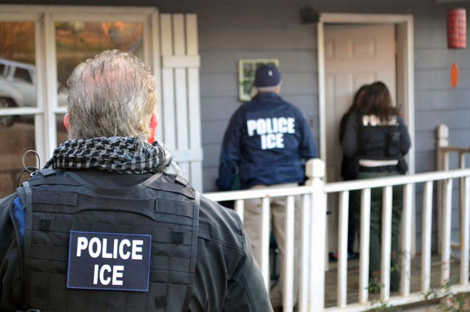 ICE agents raid a home in Atlanta, Georgia in search of immigration fugitives in February 2017. On Monday, August 13, 2018, in U.S. District Court  in Detroit, a former ICE agent will be sentenced for helping immigrants cheat deportation in a bribery scheme.