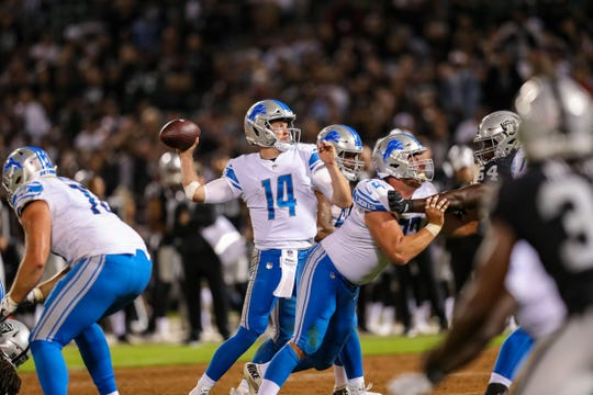 Lions quarterback Jake Rudock throws the ball against the Raiders during the third quarter of the 16-10 exhibition loss to the Raiders on Friday, Aug. 10, 2018, in Oakland, Calif.
