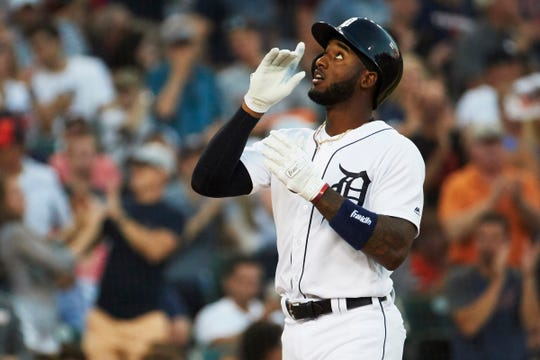 Detroit Tigers second baseman Niko Goodrum (28) celebrates after he hits a two run home run in the fourth inning against the Minnesota Twins at Comerica Park on August 10, 2018.