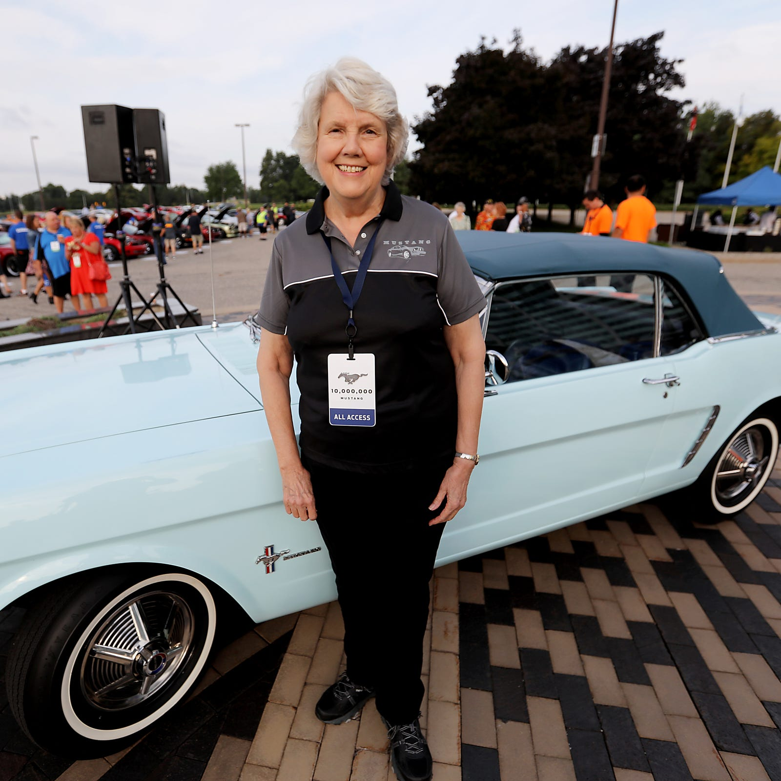 Gail Wise, 76, of Park Ridge, Illinois is the first buyer of a 1964 Ford Mustang. She and the car are at Ford world headquarters in Dearborn celebrating the building of 10,000,000 Mustangs on Wed., Aug 8, 2018.