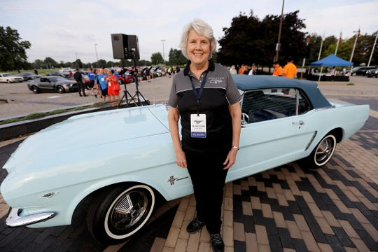 Gail Wise, 76, of Park Ridge, Illinois, was the first buyer of a 1964 Ford Mustang. She and the car were at Ford World Headquarters in Dearborn celebrating the building of 10 million Mustangs on Wednesday, Aug 8, 2018.
