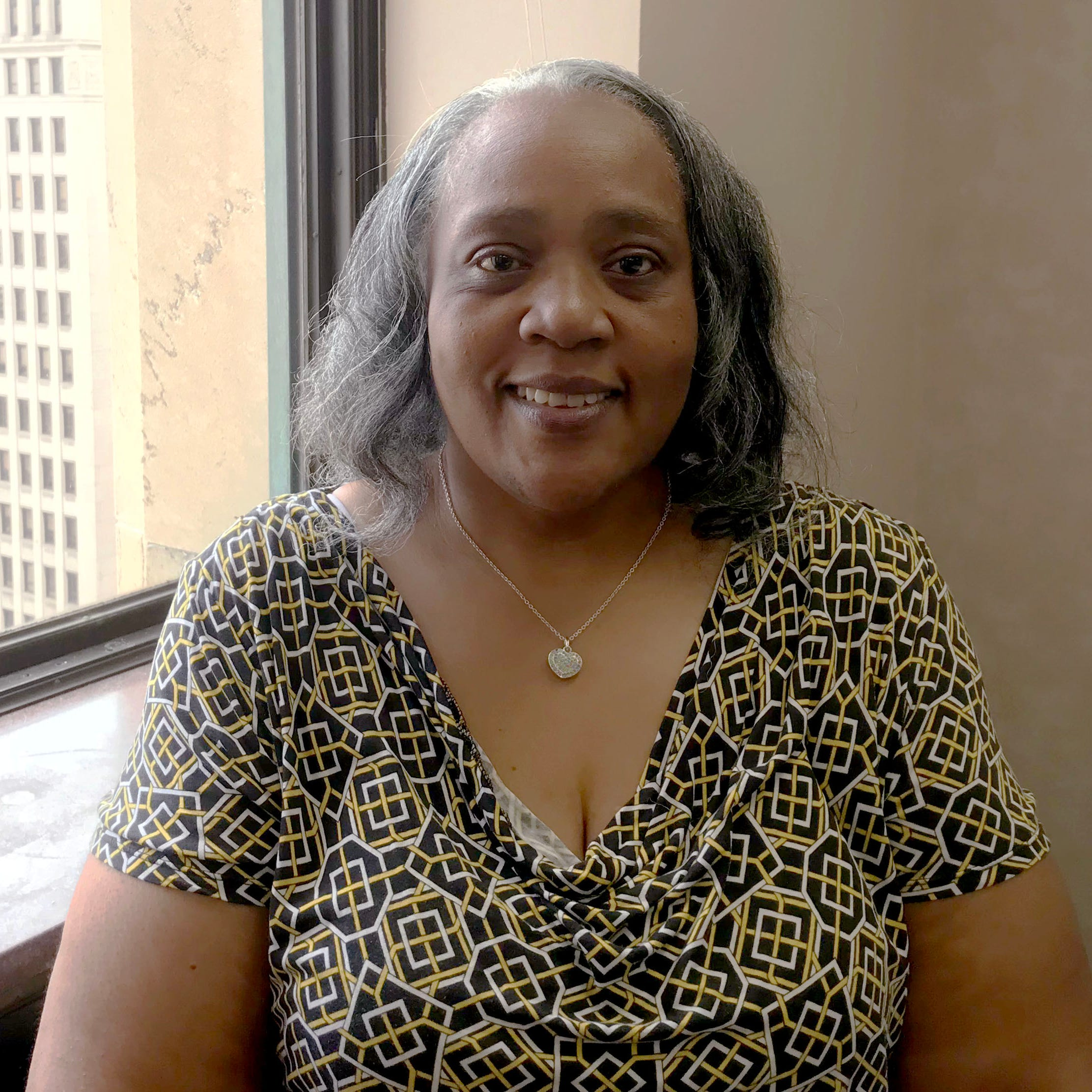 Betty Jean Alexander, who unseated a veteran state lawmaker in the 5th Senate District race Tuesday, August 7, is shown in this photo taken Saturday, Aug. 11, 2018 in the Fisher Building in Detroit.