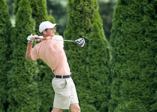 Matthews Ladd tees off on the 12th hole during the third round of the Courier & Press Men's City Golf Tournament at Rolling Hills.
