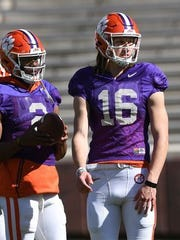 Kelly Bryant (2) and Trevor Lawrence (16) at Clemson camp