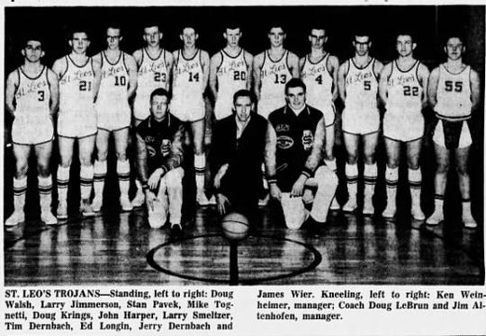 Saint Leo's in Lewistown had fantastic football and basketball teams in the 1960s. The school, which closed in 1988, featured many exceptional athletes that completed in Class C and went on to college careers. Here is the 1965 Saint Leo's basketball team, which like the football squad was led by head coach Doug LeBrun.
