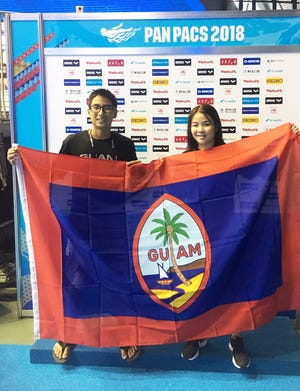 Mark Imazu, left and Mineri Gomez are representing Guam at the Pan Pacific Swimming Championships in Tokyo, Japan.