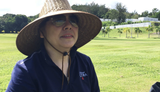 Tina Perez, a MainStreet Delicatessen and Bakery co-owner, discusses volunteering services at Guam Veterans Cemetery, Aug. 11, 2018.