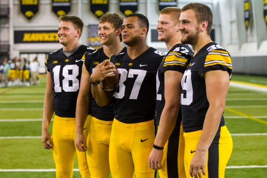 Shaun Beyer, second from right at last year's Iowa media day with two future NFL tight ends (in T.J. Hockenson, Noah Fant) to his right, is expected to be the leading target at that position for the Hawkeyes in 2019.