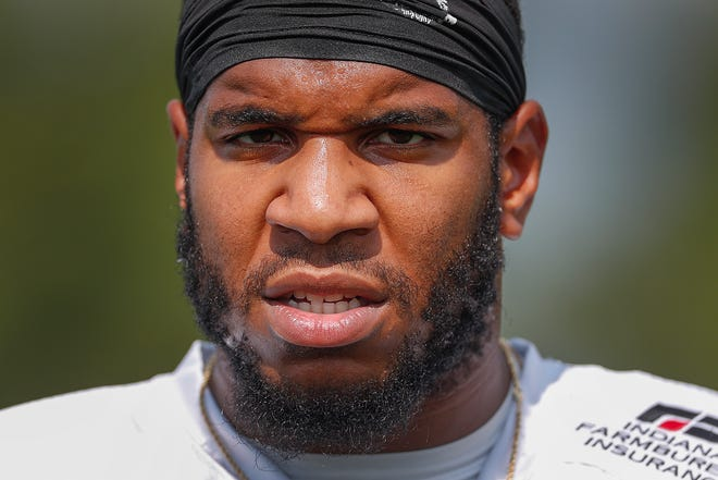Indianapolis Colts tight end Eric Ebron during preseason training camp at Grand Park in Westfield on Aug. 11, 2018.