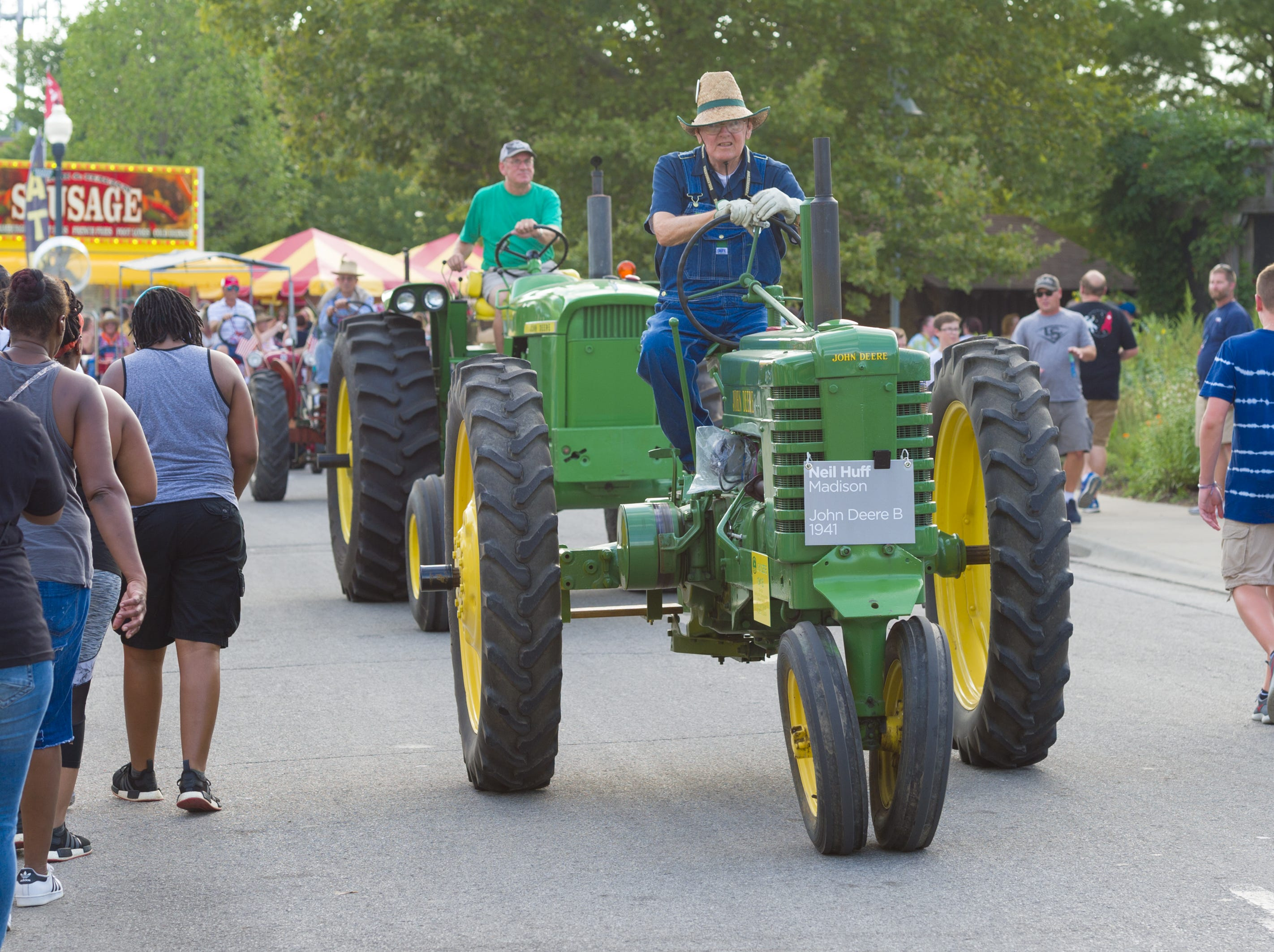 The evening parade navigates around the grounds at the Indiana State Fair, Friday, Aug. 10, 2018.