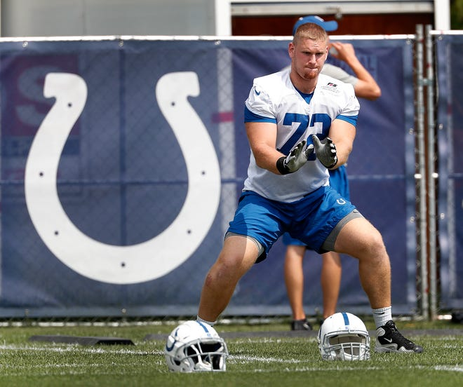 """It's an open competition, and he is a part of it,"" coach Frank Reich said of rookie Braden Smith playing right tackle."