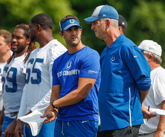 Indianapolis Colts head coach Frank Reich talks to offensive coordinator Nick Sirianni, left, during their preseason training camp at Grand Park in Westfield on Saturday, August 11, 2018.