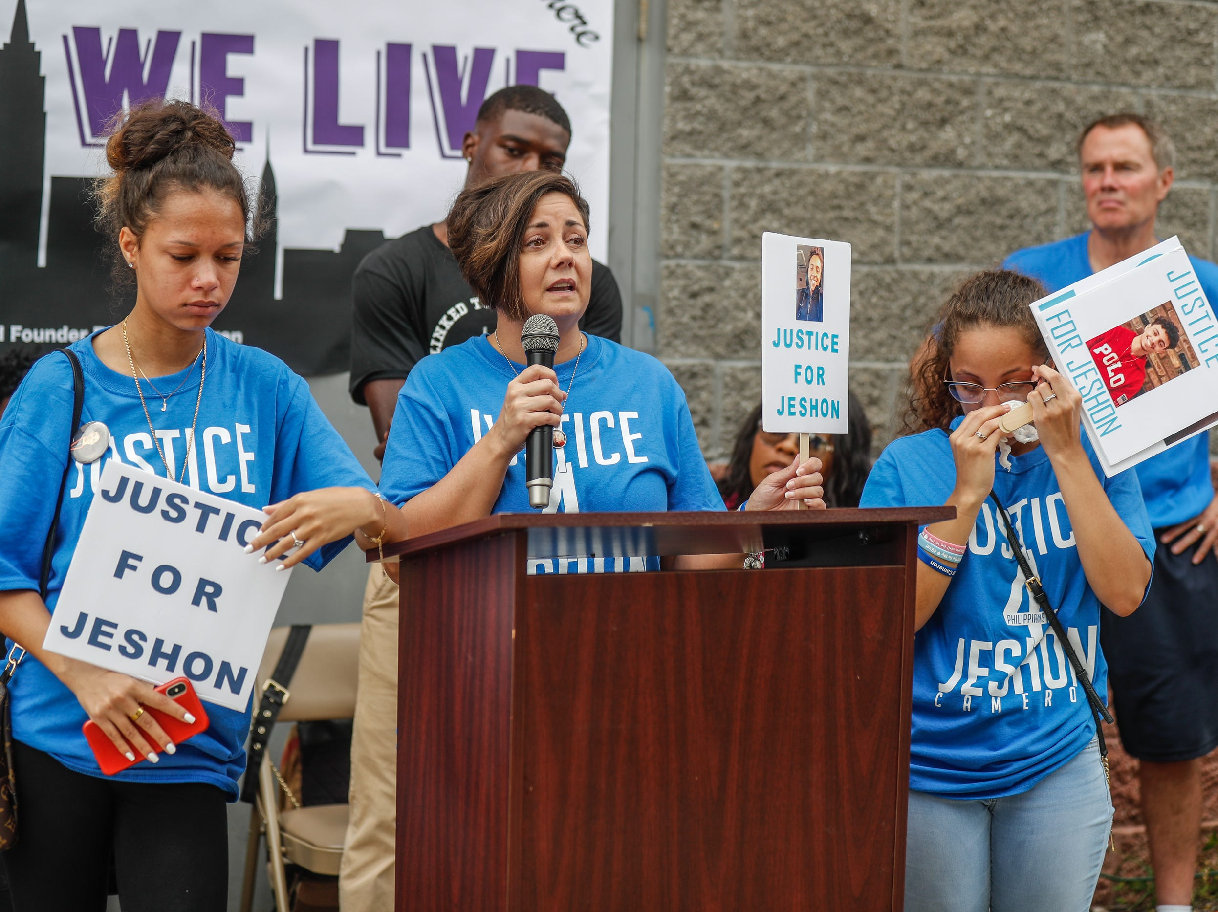 Left to right, Divina Leal, Jennifer Cameron and Amaia Cameron speak during the second annual Peace Walk and community day to end youth violence at Washington Park on Saturday, Aug. 11, 2018. 'We Live,' which stands for 'Linked To Intercept Violence' was started by students from Warren Central High School in Indianapolis.