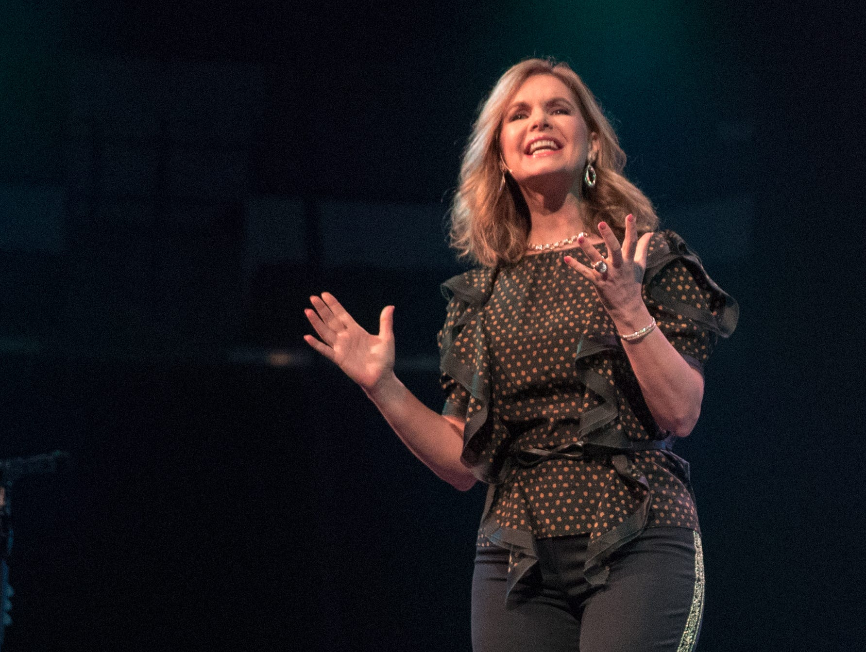 Victoria Osteen speaks at Bankers Life Fieldhouse, Indianapolis, Friday, Aug. 10, 2018. The event, dubbed Night of Hope with Joel and Victoria, drew about 8,000 people to the arena for the event with the Houston-based televangelist.