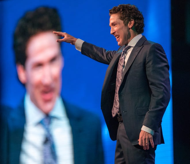 Joel Osteen speaks at Bankers Life Fieldhouse, Indianapolis, Friday, Aug. 10, 2018. The event, dubbed Night of Hope with Joel and Victoria, drew about 8,000 people to the arena for the event with the Houston-based televangelist.