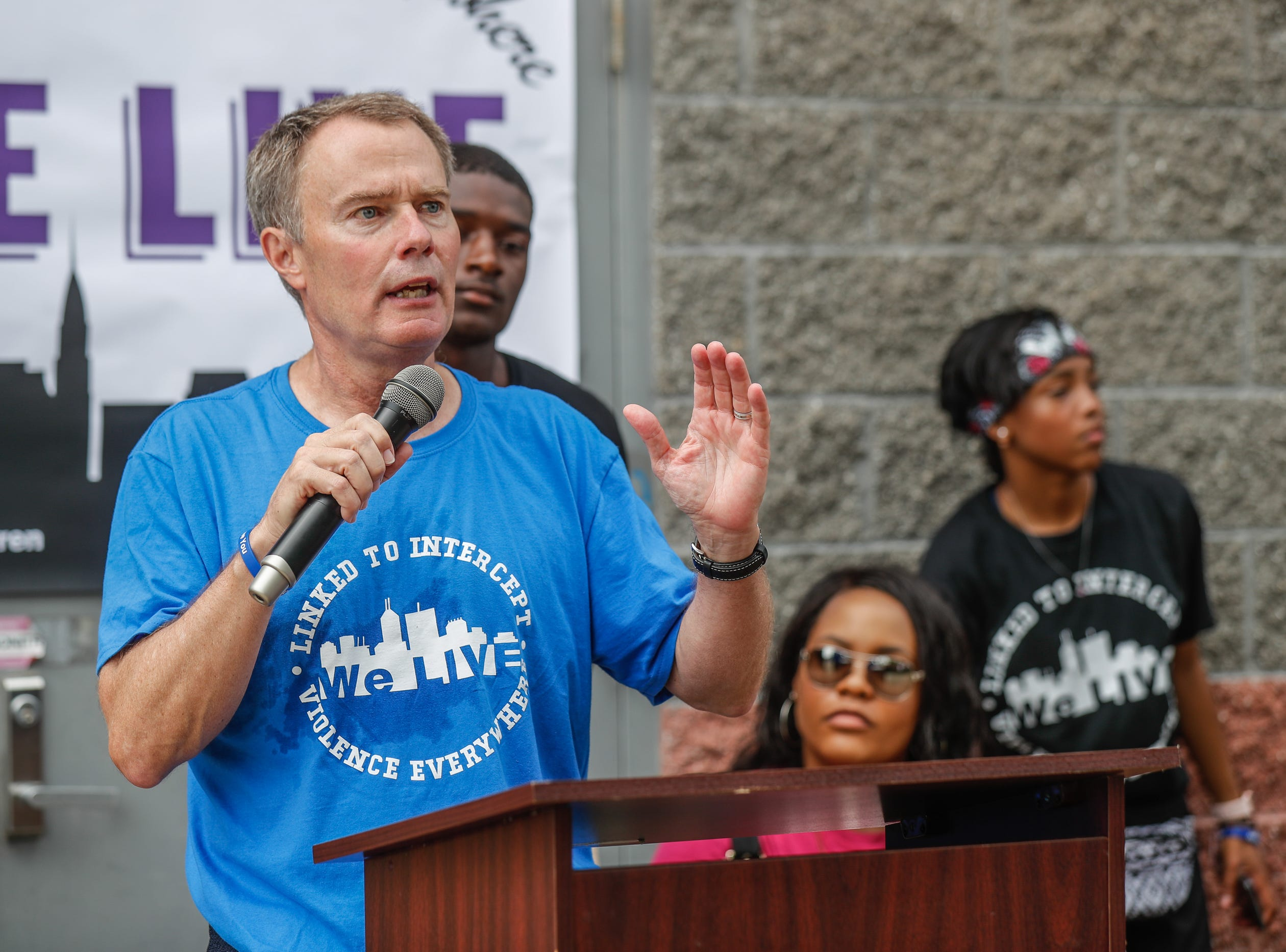Indianapolis Mayor Joe Hogsett speaks during the second annual 'We Live' Peace Walk and Community Day to end youth violence at Washington Park on Saturday, Aug. 11, 2018. 'We Live,' which stands for 'Linked To Intercept Violence' was started by students from Warren Central High School in Indianapolis.