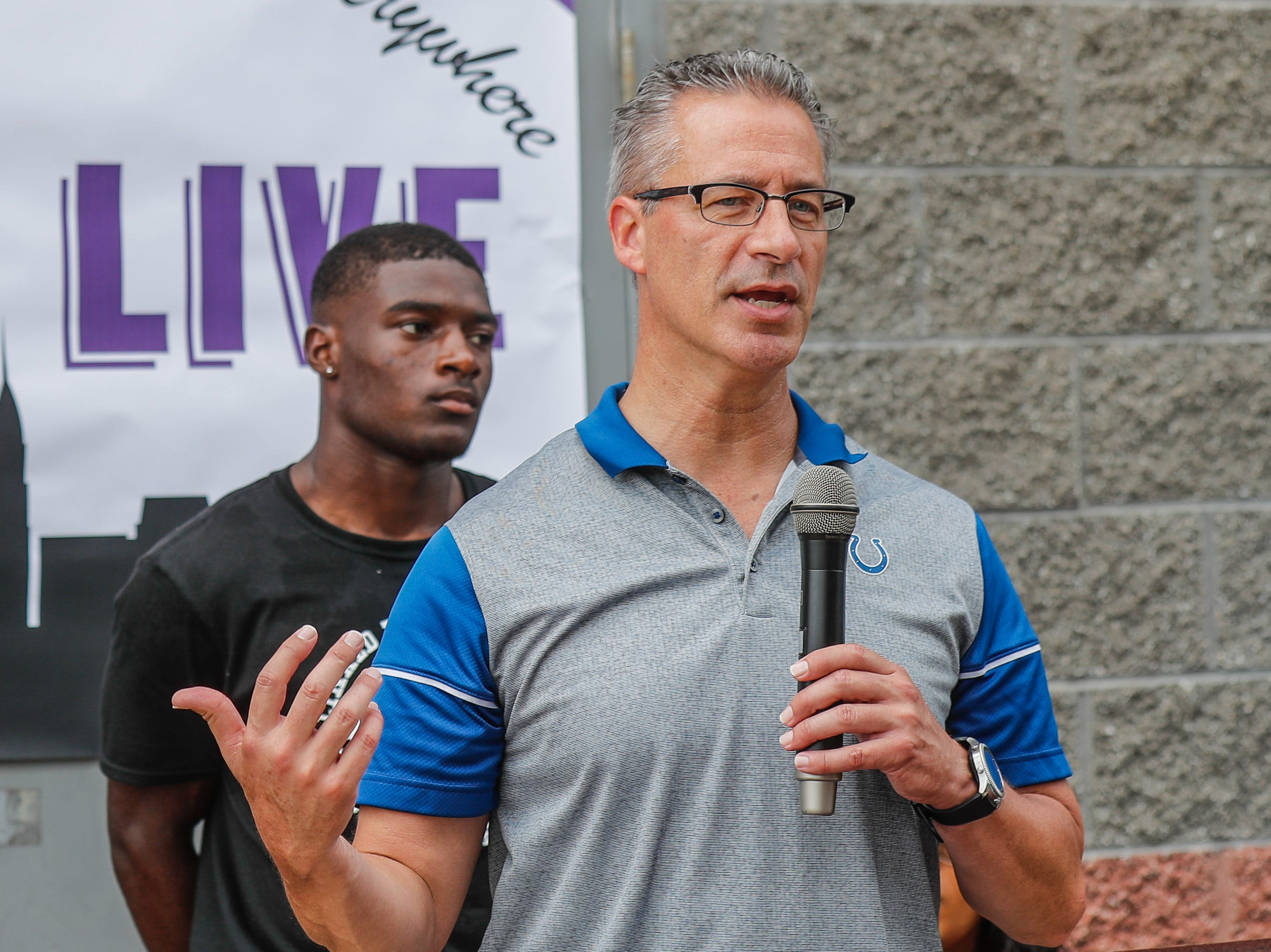 Bryan Roach, Police Chief of the Indianapolis Metropolitan Police Department, speaks during the second annual 'We Live' Peace Walk and Community Day to end youth violence at Washington Park on Saturday, Aug. 11, 2018. 'We Live,' which stands for 'Linked To Intercept Violence' was started by students from Warren Central High School in Indianapolis.