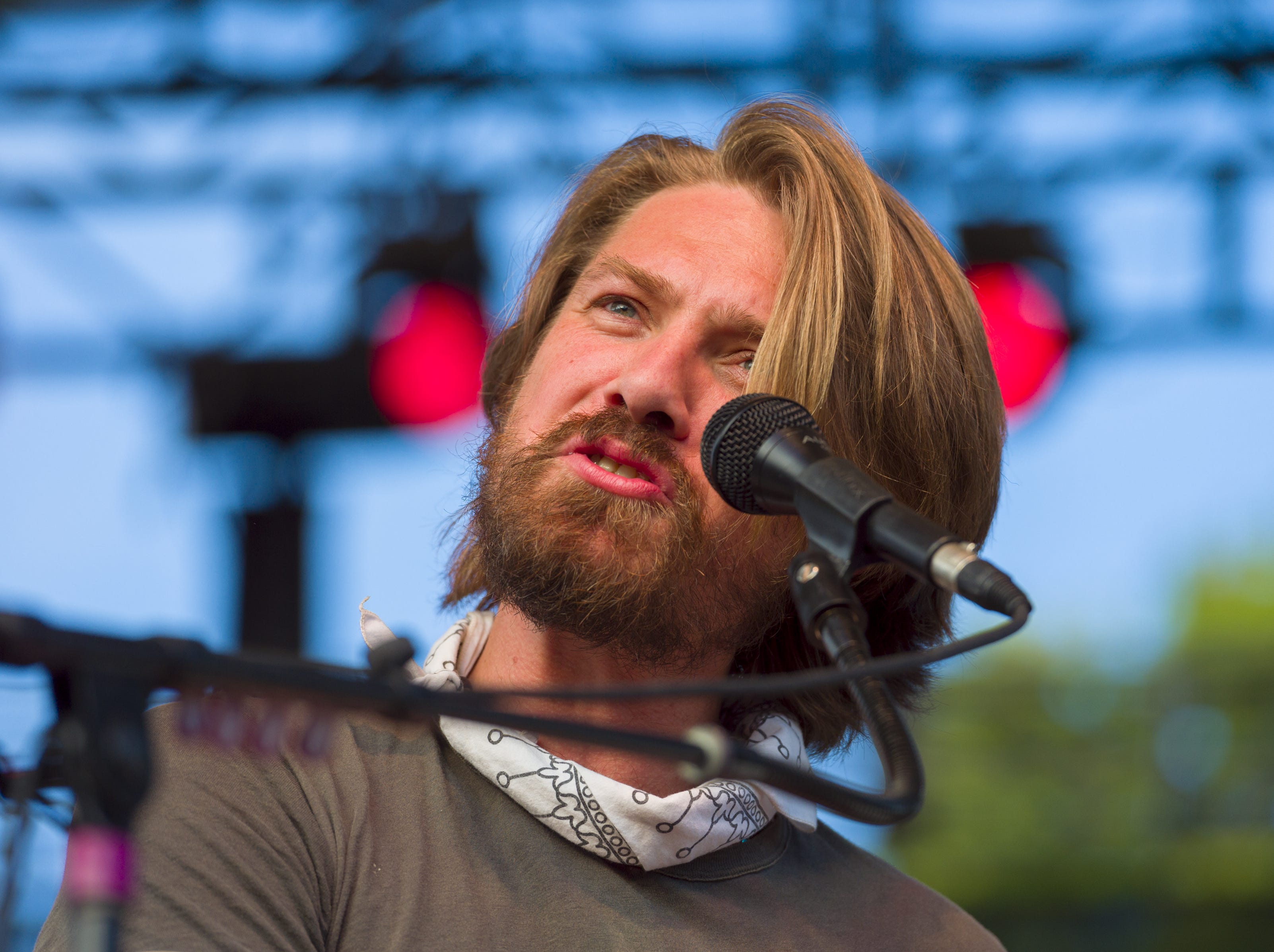 """Taylor Hanson, piano and singer, performs on stage. Hanson, a trio of siblings known for the No. 1 hit in 1997 titled """"MMMBop"""" performed at the Indiana State Fair, Friday, Aug. 10, 2018, on the Chevrolet Free Stage."""