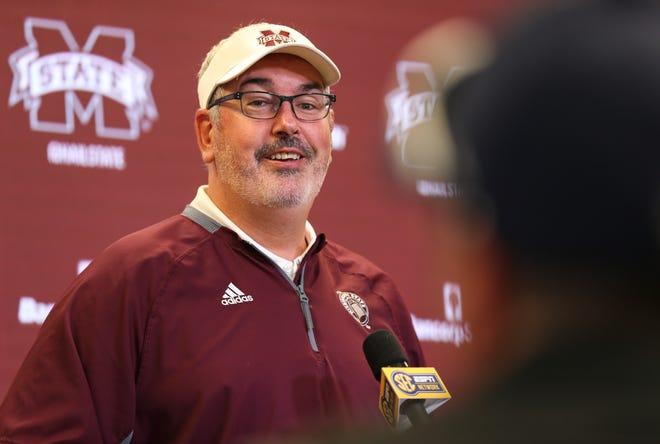Head coach Joe Moorhead speaks at Mississippi State's Media Day.