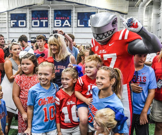 "Ole Miss' new mascot Tony the Landshark makes his debut at the ""Meet the Rebels"" fan day at the Manning Center in Oxford on Saturday."
