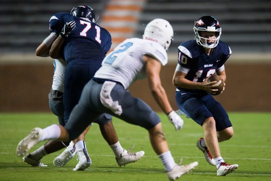South-Doyle's Mason Brang (10) runs  the ball at the KOC Kick-off Classic at Neyland Stadium, Friday, Aug. 10, 2018.